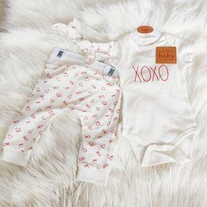 Rae Dunn XOXO onesie, pants and headband set